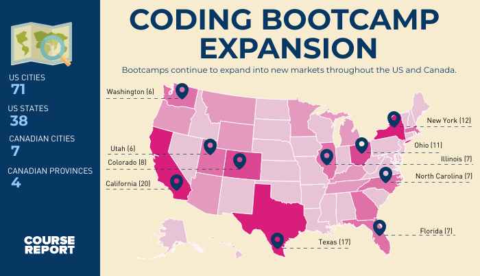 coding bootcamp map infographic